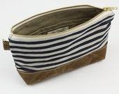 Stripe denim x Waxed canvas zipper pouch - Sailor