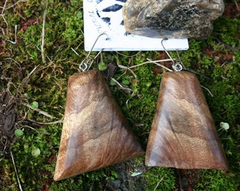 Earrings in Rare Incredible Wood   Boho Natural  Wood 1 3/4 in tall.Jewelry  03