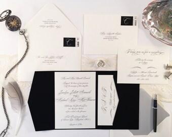 Chic Script Wedding Invitation Pocketfold Suite Sample, Cream Black Silver Script Wedding Invitations Printable invitation Wedding Modern