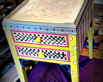 Hand Painted Vintage Nightstand ~ black & white checks and polka dots~ Free Shipping