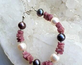 Pink Tourmaline Bracelet Pink Crystal Nuggets Black White Pearl Bangle Bracelet Style Chunky Pink Bracelet Layering