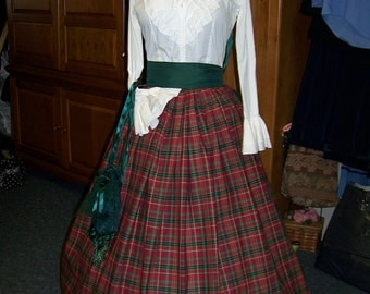 Dickens Christmas Long Skirt one size fit all Green, Red, and burg plaid cotton homespun