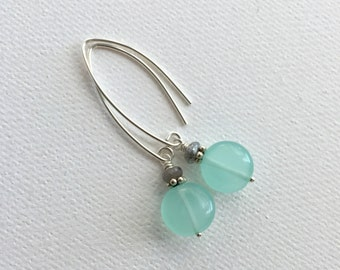 Mint and Gray Earrings. Minty Green Quartz, Gray Labradorite and Sterling Silver