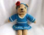 Knitted Teddy Bear with Blue Sweater and Skirt, Stuffed Animal