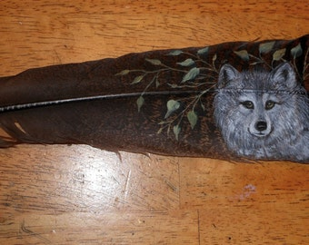 Hand Painted Turkey Feather with Wolf     SALE