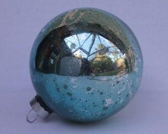 Extra LARGE Shiny Brite Xmas Ornament Aqua Turquoise Blue