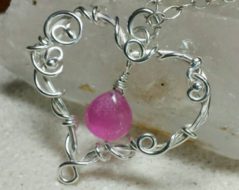 Big Heart Bride's  Necklace - Shiny Sterling Silver and Pink Quartz Gemstone - Wire Wrapped With Fine Silver -  Handmade
