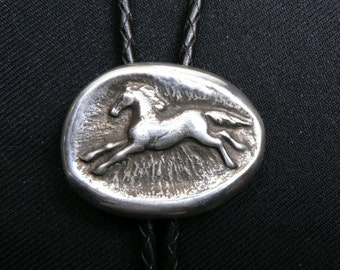 Original Candy Sayger Sterling Silver Sand Cast Horse Bolo, Bola Tie
