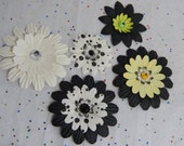 Black, White, and Beautiful Paper Flowers...Set of 5