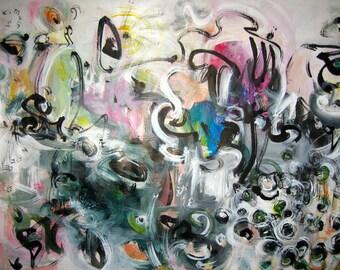 original seonjeongkim painting abstract landscape art, acrylic ink art, blue green black pink art, sjkim