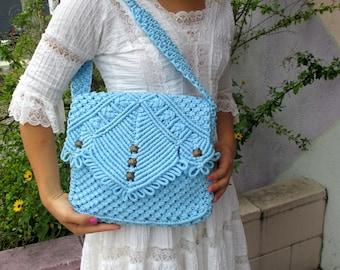 Sky Blue Macrame Shoulder Bag
