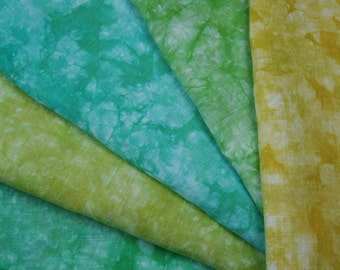 Hand Dyed Linen Fabric, Hemp Material Bundle for Hand Embroidery & Fiber Arts Cool Miami Palette