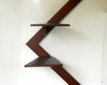 Art Deco Modern Art Wall Shelf Knick Knack Shelf Mahogany Wood Shelf Wooden