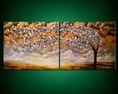 palette knife painting acrylic textured tree art original white gold blue canvas abstract large modern contemporary 22 x 56 MATTSART