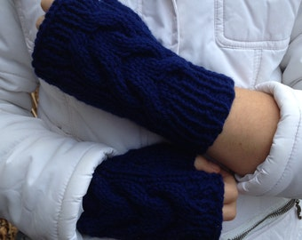 Texting Cabled Fingerless Mittens in Navy Blue - Ready To Ship - Great present for 25.00 and under