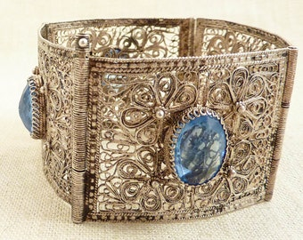 SUPER SALE --- Vintage Sterling Floral Lace Filigree Bracelet with Blue Glass Accents