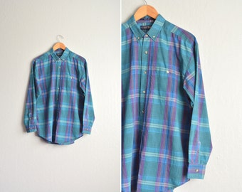 Size M // TEAL PLAID OXFORD // Long Sleeve Button-Up Shirt - Teal & Purple - Vintage Men's '80s.