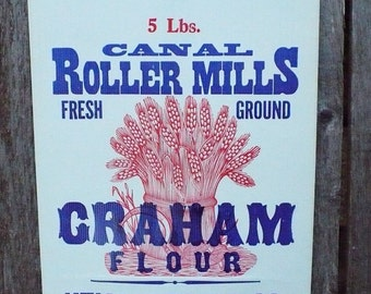 Canal Roller Mills 5 lb. Graham Flour Paper Bag - Utica Milling Co. - Utica, Michigan