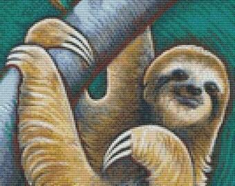 CROSS STITCH KIT - Eya Claire Floyd - Tree Life  - Modern art needlecraft - Sloth - Genuine Dmc materials
