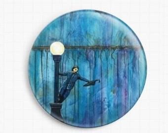 Needle Minder - Licensed Art By Robert Bretz- Singing In The Rain Cross Stitch Keeper - Fridge Magnet
