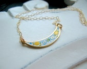 Spring Flowers Cloisonné and 14kt gold fill chain, great layering piece