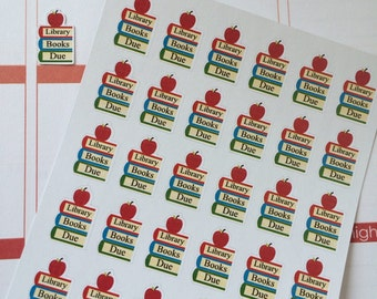 Planner Stickers 30 Library Books Due  Perfect For The Erin Condren Planner