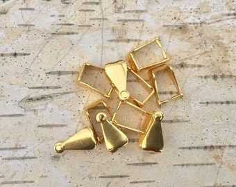 Gold Plated Heart Pinch Bail (10)