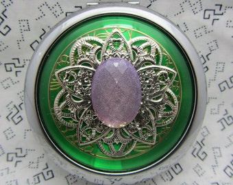 Compact Mirror Shimmering Lavender Comes With Protective Pouch
