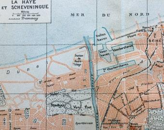 1938 Vintage Map of the Hague and Scheveningen