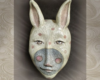 The Ether Bunny's Twin - Mask Sculpture, Ceramic Face Pendant, Art to Wear, Original Mask Art