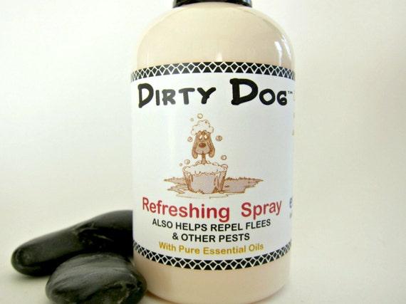 Dirty Dog™ Deodorizing Refresher Spray with Essential Oils | Deters Fleas | Vegan | Fur , Bedding Freshener | Non Toxic | Pet Perfume - 4 oz
