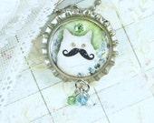 White Cat Necklace Mustache Jewelry Bottle Cap Necklace Cat Pendant Mustache Necklace Cat Jewelry