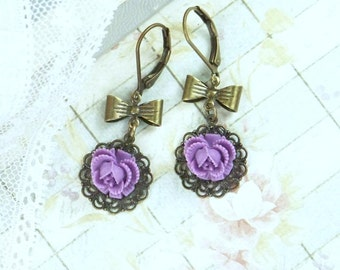 Purple Rose Earrings Victorian Earrings Purple Flower Earring Rose Dangle Earring Purple Dangle Earrings