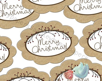 """Christmas Stickers - 50 LARGE Scalloped oval """"Merry Christmas"""" labels"""