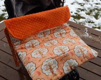 Stroller Footmuff, Stroller Blanket in peach Les Amis fabric by Baby Ellie Designs