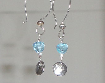 Sky Blue Topaz Trillion Cut Dangle Hammered Sterling Silver Discs and French Wires