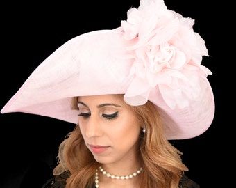 Pale Pink Hat for Kentucky Derby, Weddings on a Headband