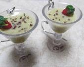 "1"" Miniature GrassHopper Earrings w/ Tiny Strawberry and Chocolate Shavings Garnish"