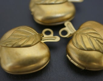 Raw Brass Apple Lockets 20mm - 3 pieces (No Coupons Allowed)
