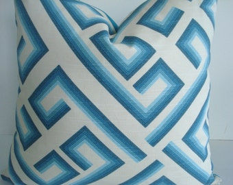 CARIBBEAN BLUE GEOMETRIC-Kronos -Decorative Designer Pillow Cover- Blues -Turquoise-/Aqua / Blue /Off Whitee