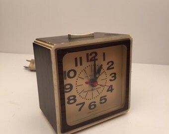 Vintage General Electric Alarm Clock with Wood Grain