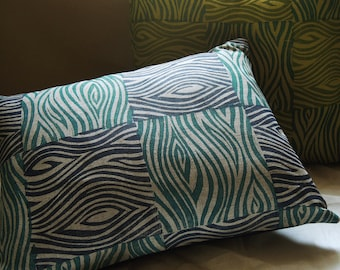 Teal and Indigo blue linen pillow cover faux bois woodgrain texture colorful decorative hand block printed on natural