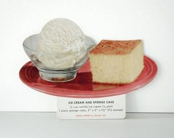 RECIPE ice cream and sponge cake, Vintage 1960s