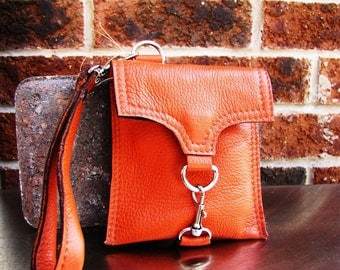 Orange leather wristlet wallet, custom to fit your iPhone