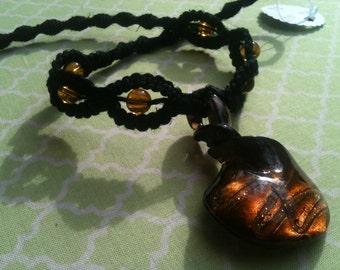 Amber Glass Pendant Hemp Necklace (0009)