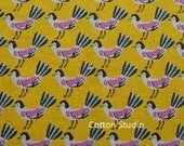 On Sale Hokkoh Tweet Tweet Kawaii Bird Japanese Fabric Gold Lightweight Canvas 1/2 Yard