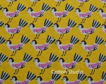 Hokkoh Tweet Tweet Kawaii Bird Japanese Fabric Gold Lightweight Canvas 1/2 Yard
