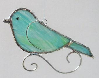 Aqua Stained Glass Songbird Home Decor Suncatcher