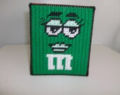 Needlepoint M & M Tissue Box Cover, Handmade M and M Tissue Box Cover