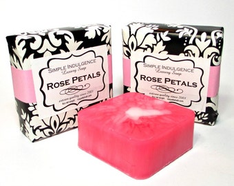 Rose Petals Soap, Handmade, Simple Indulgence. Pink, Shea butter, tea rose fragrance